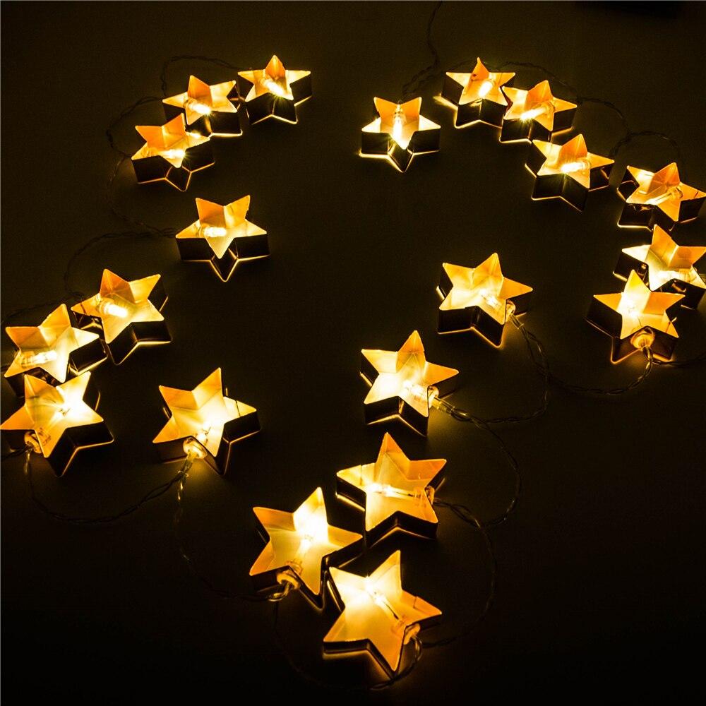 Led Lichterkette Weihnachten.Us 7 43 25 Off Batteriebetriebene 20 Copper Stern Ausstecher Lichterketten Led Lichterkette Dekoration Licht Für Festival Weihnachten Party