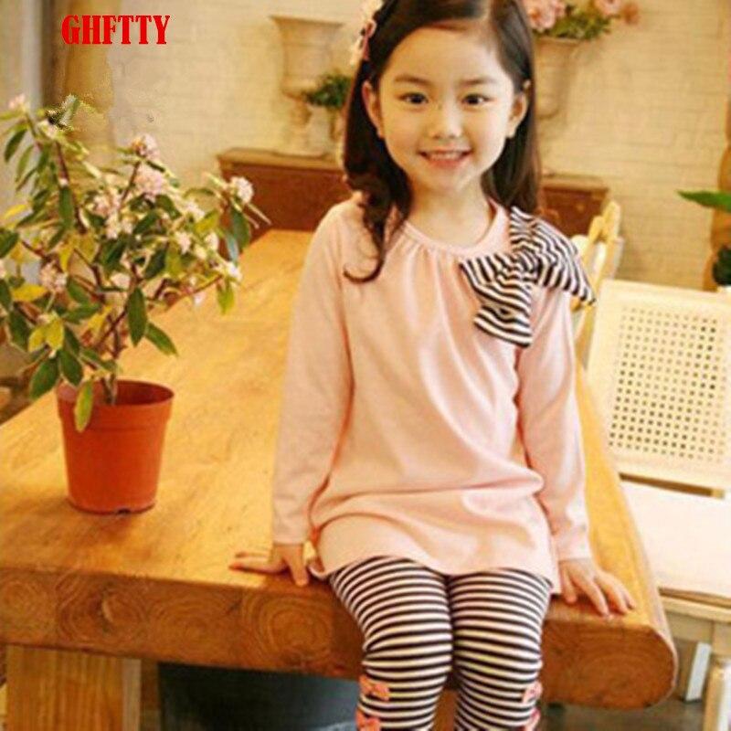 2015 Autumn Children baby girls Clothing sets Cute 2PCS kids Set girl Clothes striped Print Bow Children Suit Tops Pants Legging