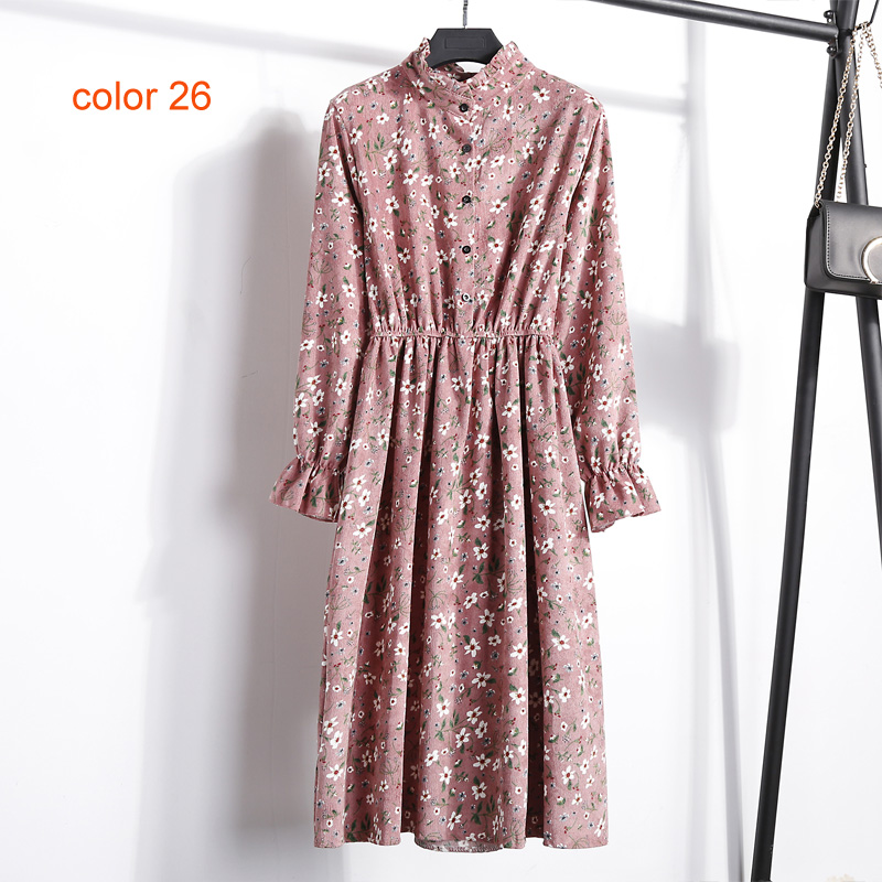 Image 5 - Corduroy Soft Floral Print Women Autumn Winter Dress Stand Collar Female Party Loose Dresses Elastic Waist Beach Vestidos-in Dresses from Women's Clothing