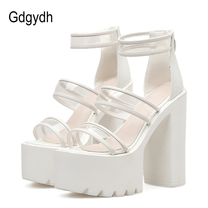 Gdgydh Fashion PVC Shoes Women Thick Heels Platform Sandals Black Summer Shoes for Women White Wedding Shoes 2018 New Brand women creepers shoes 2015 summer breathable white gauze hollow platform shoes women fashion sandals x525 50