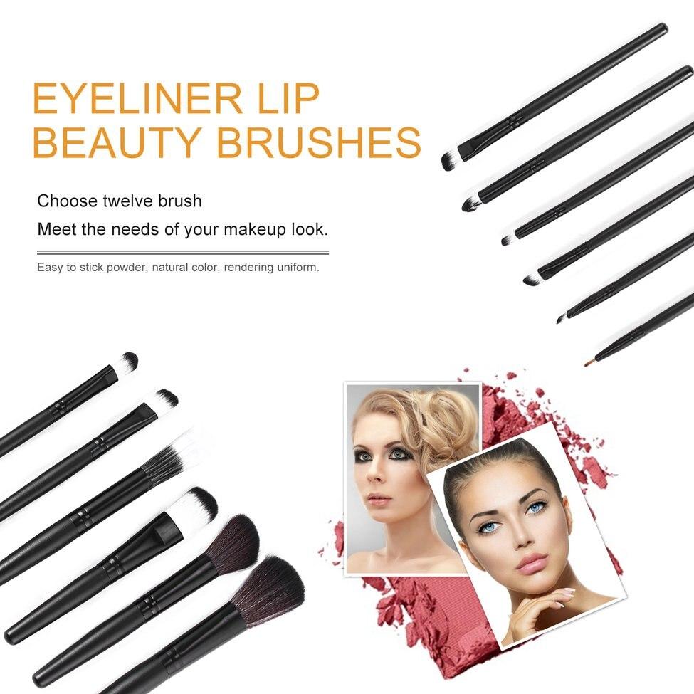 12 pièces pinceaux de maquillage ombre à paupières Sourcil ensemble Fibre Nylon Cheveux Manche En Plastique brosse de maquillage maquiagem