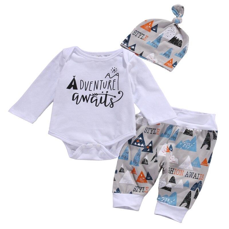 3 pcs toddler baby boys clothing sets infant babies letter bodysuits onesiecolor blocks pants
