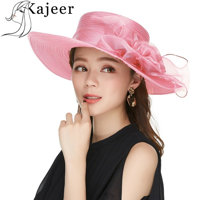 cf214c149f Kajeer Yarn Pink Wide Brim Hats Floral Floppy Hats Holiday Travel UPF  Protection Church Hats For