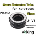 Voking Plástico AF Tubo de Extensão Macro anel de Foco Automático 10mm 16mm VK-N-ET Padrão para Nikon J1 J2 J3 V1 V2