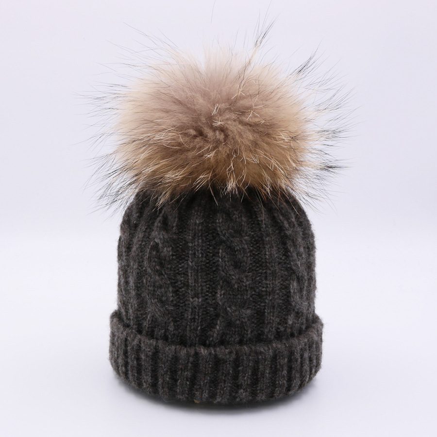 Baby Cap New Raccoon Ball Winter Children Knitted Hat Beanie Cap Newborn Baby Beanies Winter Knitted Ear Warmers Boys and Girl