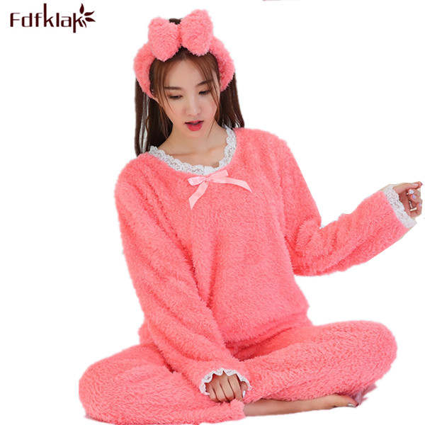 Online Shop Plus Size Pajama Set Flannel Pyjama Thickening Fleece Pajamas  Set Warm Sleepwear Pijama With Hand Women Winter Pajamas M-XXL  00aa3b176