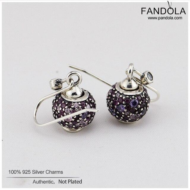 Purple & Pink Pave Lights Earrings 100% Authentic 925 Sterling Silver Earrings DIY Making Jewelry FLES031
