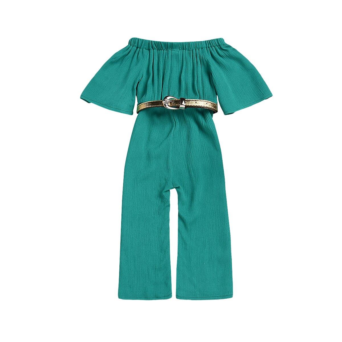 9a0a4fe05b9d New Toddler Infant Kids Child Baby Girl Off shoulder Jumpsuit Kids Girls  Overalls +belt 2Pcs