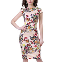 Women Floral Elegant Print Hit Color Patchwork Long Dresses Work Business Bodycon Chinese Style O Neck