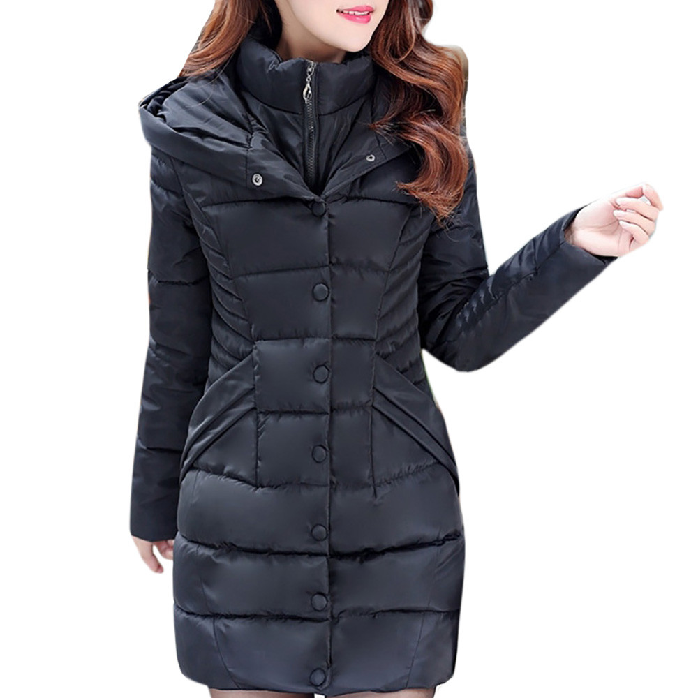 Winter Coat Women Women Hooded   Parka   Outwear Lady Warm Coat Long Thick Cotton Padded Slim Jacket Ropa Mujer Invierno D118 YF1