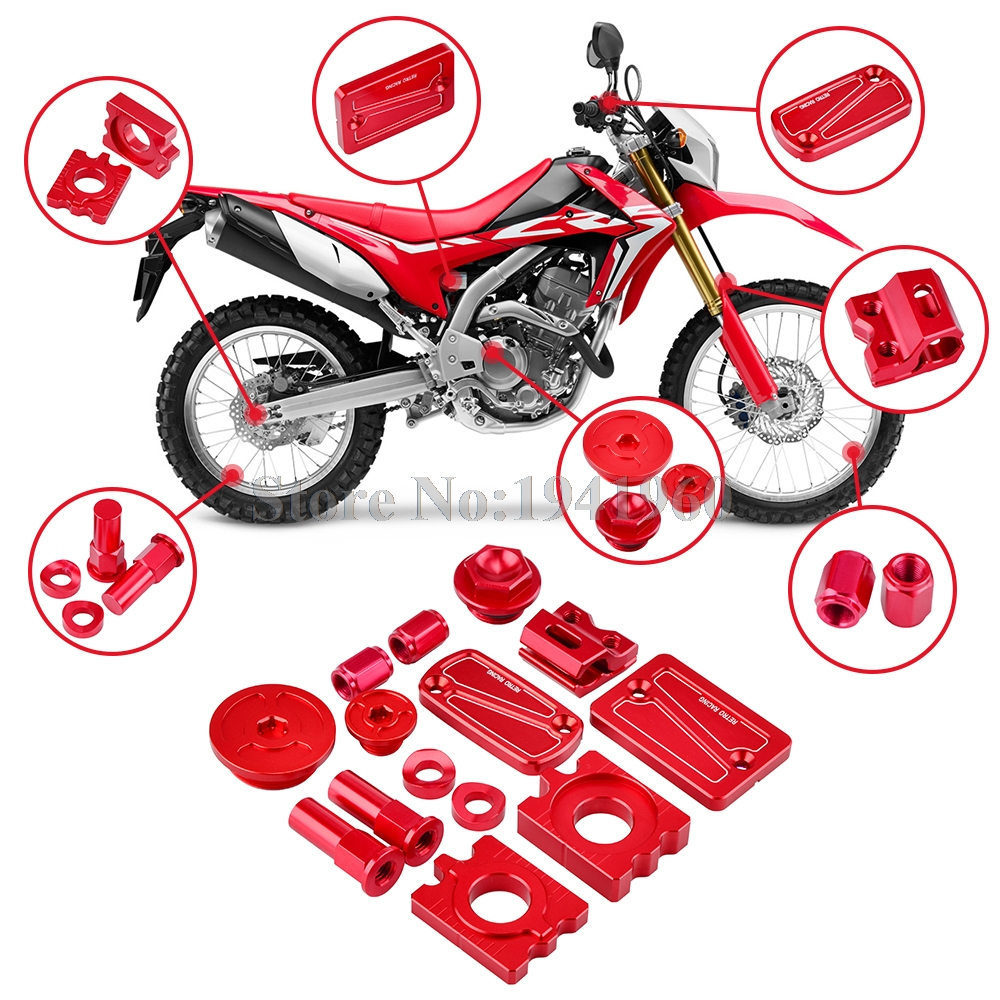 NICECNC CNC Front Rear Brake Fluid Reservoir Cover Brake Line Clamp Oil Filler Cover and Rim Lock Nuts For Honda CRF250L CRF250M tarek ahmed working guide to reservoir rock properties and fluid flow