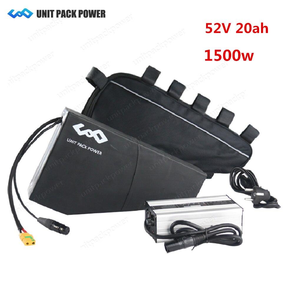 52 V 20Ah Samsung Bateria De Lítio Bicicleta elétrica bafang 1000 W 1500 W Bateria com BMS 40A DA BICICLETA Triângulo 4A Carregador Rápido