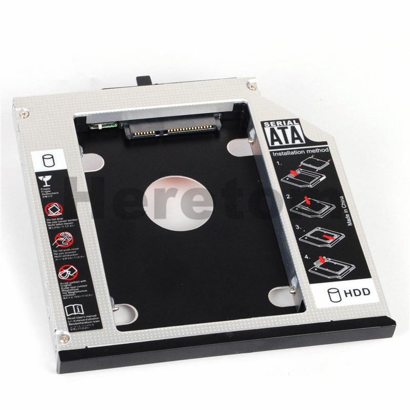 Heretom Aluminum 12.7mm SATA To SATA DVD CD-ROM Optibay 2nd HDD SSD Caddy For IBM Lenovo Thinkpad R400 R500 T420 T430 T520