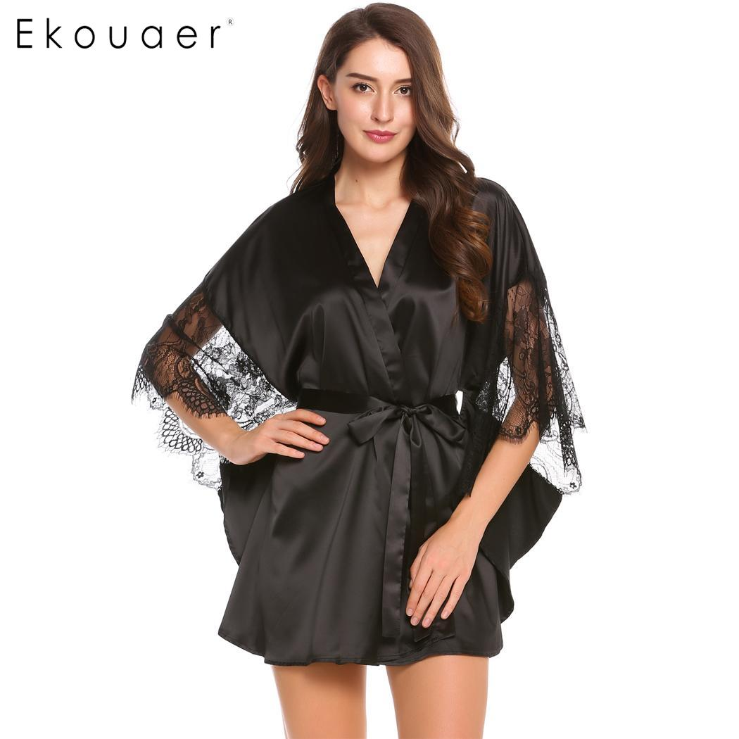 Ekouaer Women Satin Robe Kimono Bathrobe Sleepwear Lace Patchwork 3/4 Batwing Sleeve Feminino Sexy Bath Gown Robe With Belt