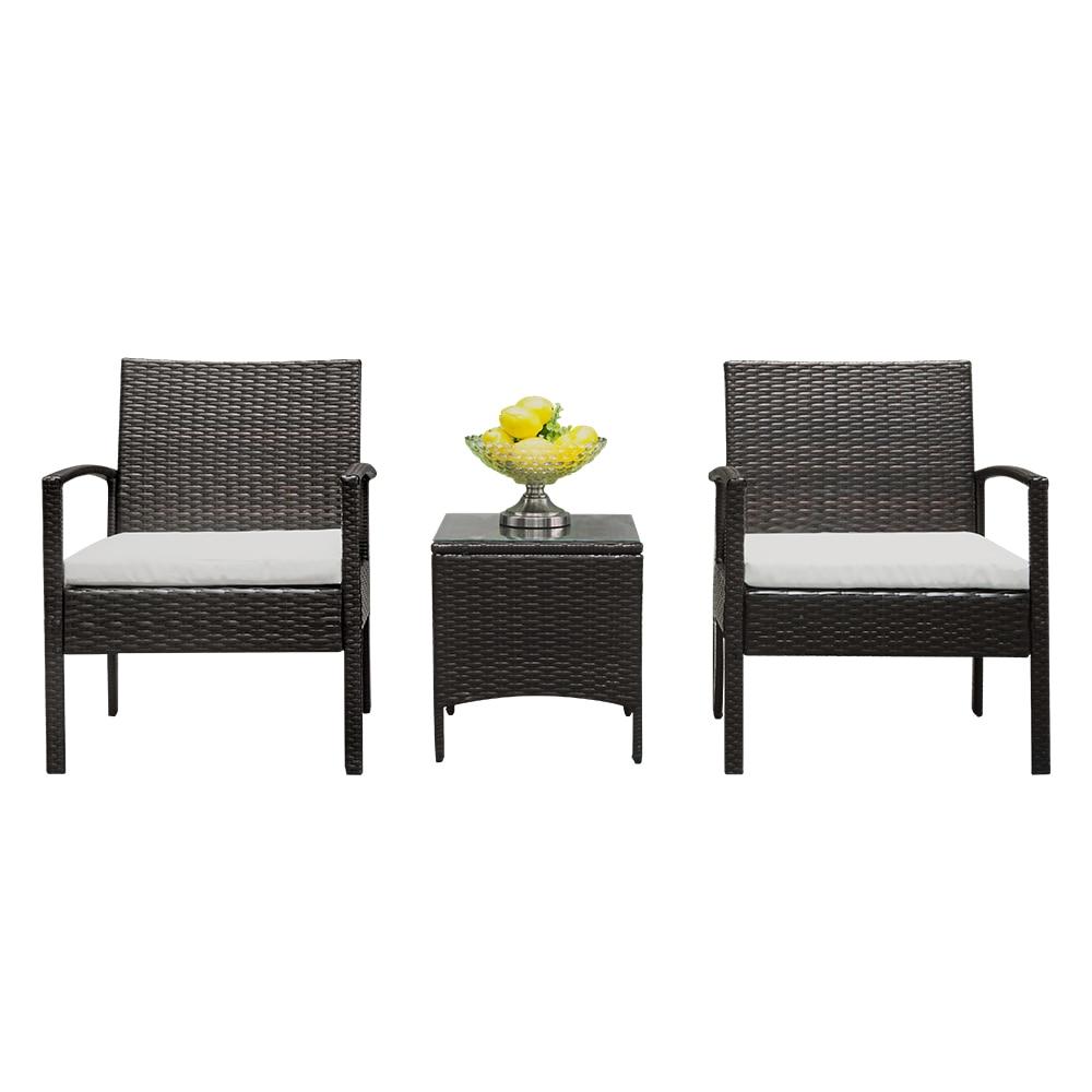 2 Arm Chairs 1 Coffee Table Wicker Rattan Sofa Outdoor