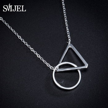 SMJEL Punk Hippe Hollow Round Circle Triangle Necklaces&Pendants Choker Geometric Statement Necklace Women New Year Gift SYXL108 image