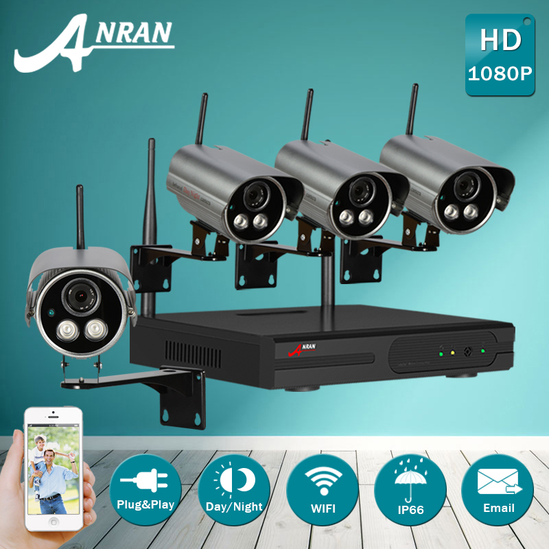 Plug And Play 4CH Wireless NVR CCTV System+4PCS P2P 1080P HD Outdoor Waterproof Bullet Cameras Security Surveillance Kit 2TB HDD