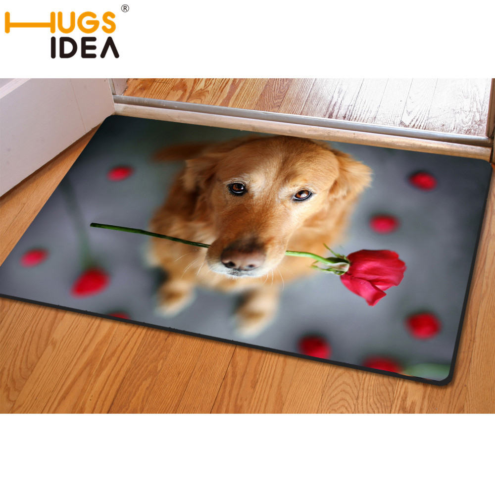 HUGSIDEA 3D Funny Dog Carpet Green Brown Red Rose Floral