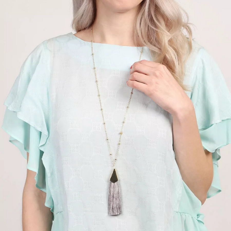 Fashion Women Long Ball Chain Pendant Fan Fringe Tassel Necklace Silk Tassel Sweater Necklace Chain for Women Christmas Gift New