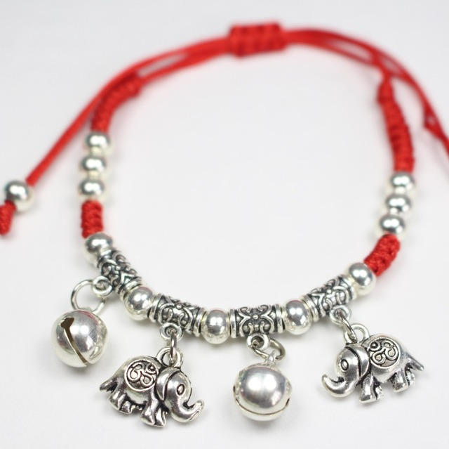 Completely new Fashion Antique Silver Color Thin Red Thread String Rope Anklet  XT64
