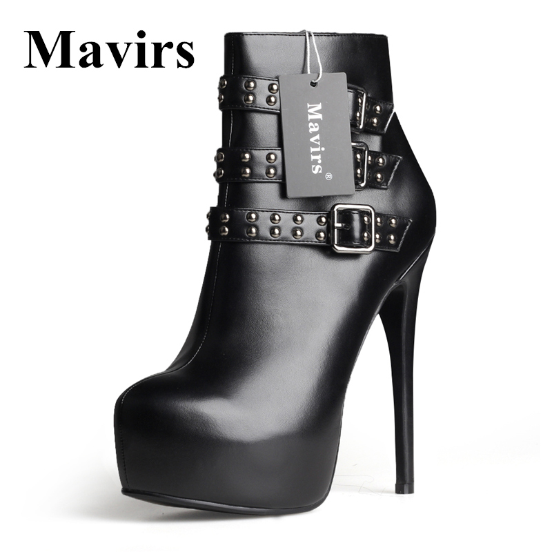 MAVIRS New Round Toe Patent Leather Platform Women Ankle Boots Winter Rivet Stiletto High Heels Dress