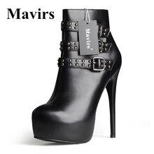 MAVIRS Nouveau Bout Rond En Cuir Verni Plate-Forme Des Femmes Cheville Bottes D'hiver Rivet Stiletto Talons hauts Robe Chaussures Moto Bottes