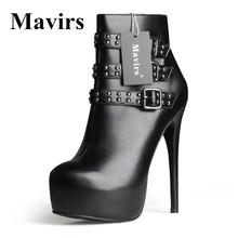 MAVIRS New Round Toe Patent Leather Platform Women Ankle Boots Winter Rivet Stiletto High Heels Dress Shoes Motorcycle Boots