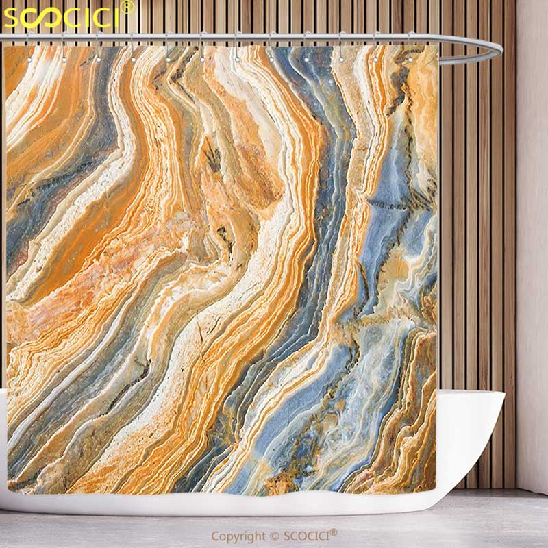 Cool Shower <font><b>Curtain</b></font> Marble Colorful Rock Quartz Surface Background Formation Abstract Picture Slate Blue Orange Apricot Bathroom