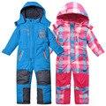 Niños/niños otoño/invierno mono, mono de esquí, azul y rosa color de la tela escocesa, tamaño 98 a 116, mono de los muchachos, mono de las muchachas