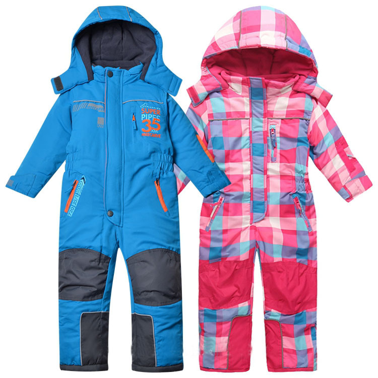 kids children autumn winter jumpsuit ski overalls blue and pink plaid color size 98 to 116