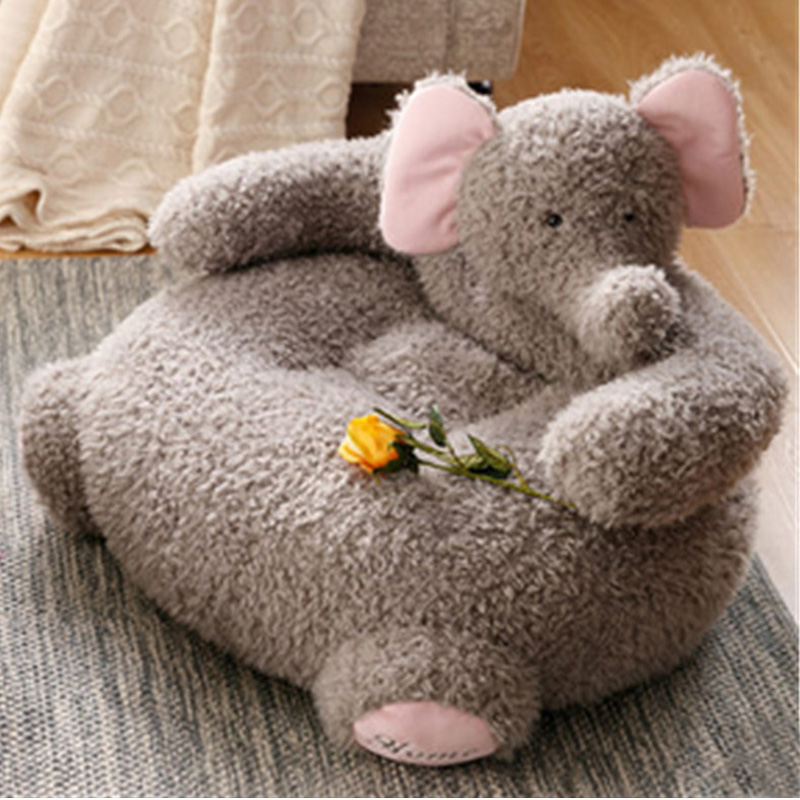 Fancytrader Pop Animals Plush Elephant Alpaca Baby Chair Soft Cuddly Kids Sofa Cushion 65cmX42cm
