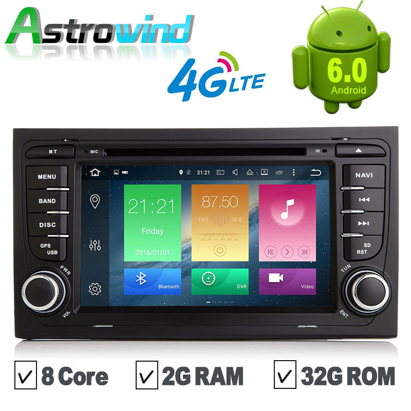 Octa Core, 2G RAM, 32G ROM, Android 6.0 Car GPS Navigation System DVD Player Auto Radio Audio Video Stereo Media For Audi A4