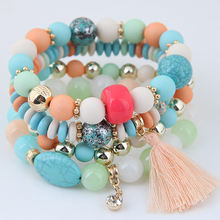 LEMOER 2017 Bohemian Multilayer Candy Color Beads Crystal Tassel Charm Bracelets & Bangles Elastic Stretch Women Jewelry Pulsera(China)