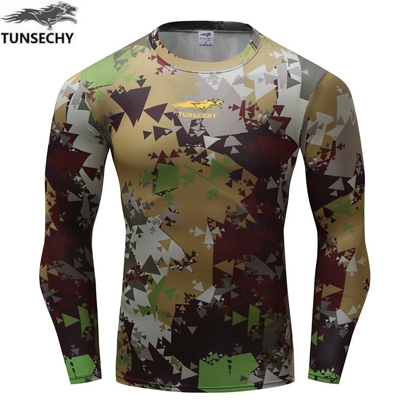 New Camouflage Military T font b Shirt b font Bodybuilding Tights Fitness font b Men b