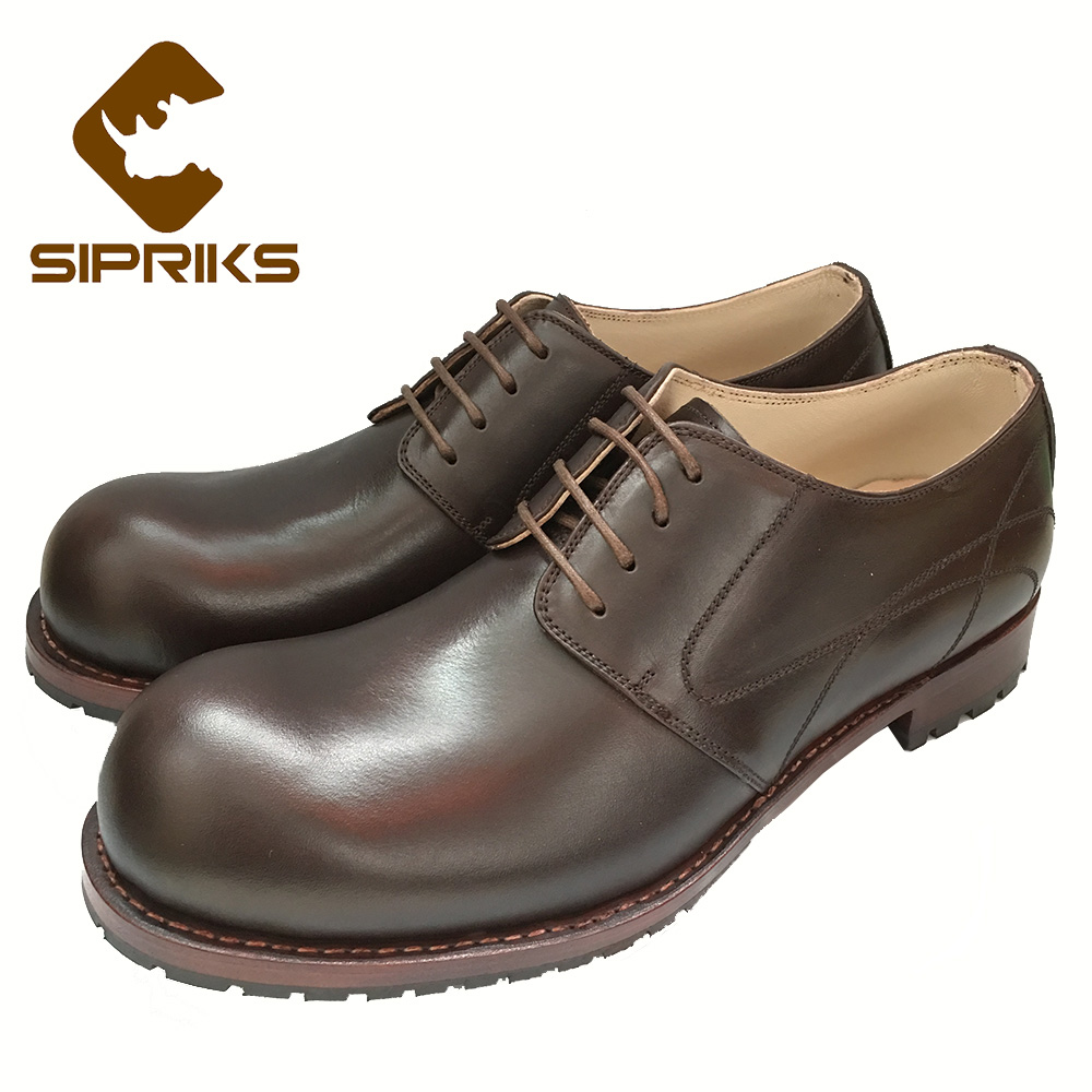 Sipriks Mens Goodyear Welted Shoes Big Round Toe Derby Shoes Unique Style Business Office Gents Suit