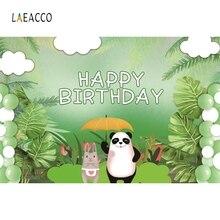Laeacco Cartoon Panda Rabbit Baby Birthday Portrait Photography Backgrounds Customized Photographic Backdrops For Photo Studio
