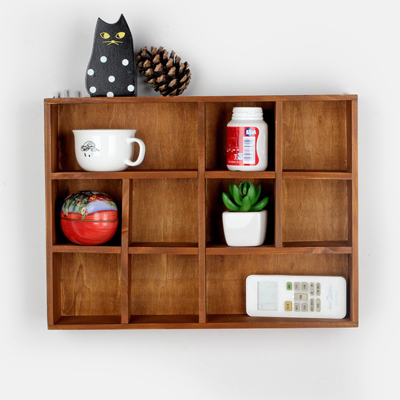 Antique Style Storage Rack Bathroom Shelves Vintage Decorative Wooden Boxes Retro Wall Holder Crafts Box For