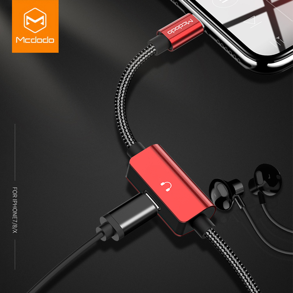 Mcdodo Audio-Cable-Adapter Earphone Lightning-To-Jack Charging 7-Plus for X 8 2-In-1