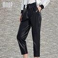 Черный подлинная кожаные штаны 100% овчины шаровары брюки Лодыжки Длина брюки pantalon femme pantalones mujer LT863