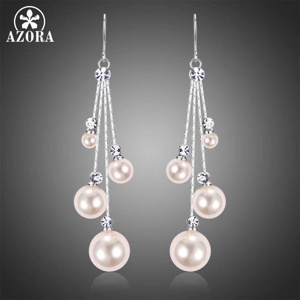 AZORA Fashion Four Pearl Drop Earring for Women Female Wedding Earring White Gold Color Clear Austrian Rhinestone Jewelry TE0346