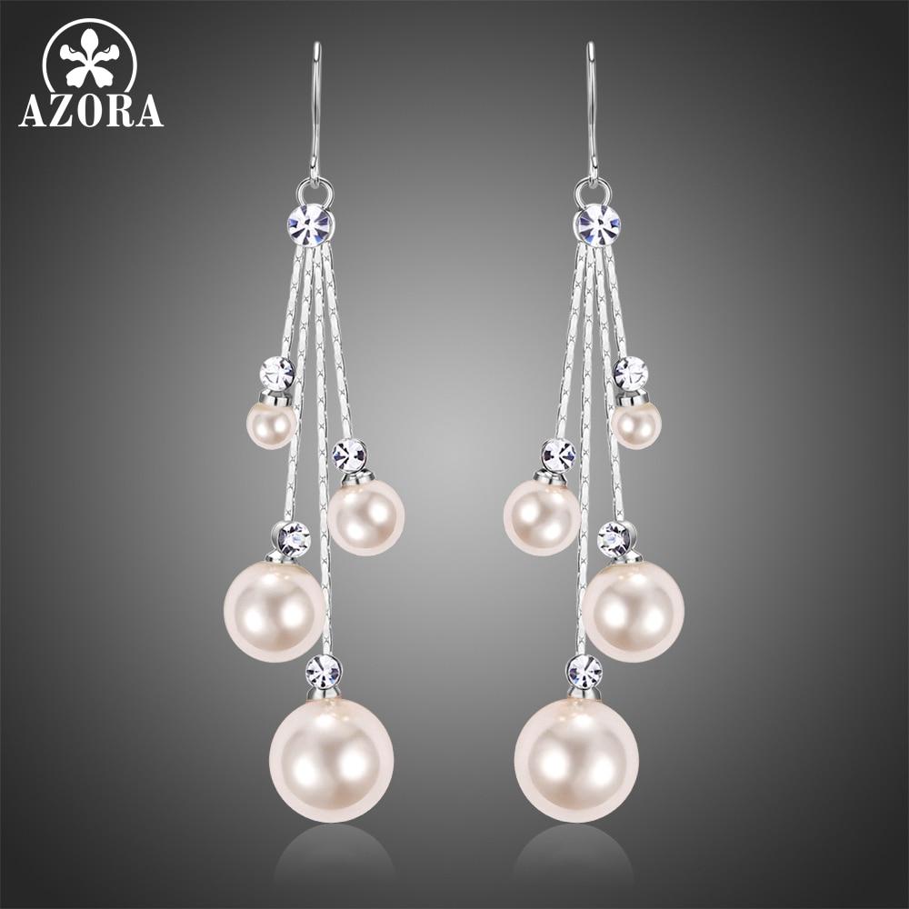 AZORA Fashion Four Pearl Drop Earring for Women Female Wedding Earring White Gold Color Clear Austrian Rhinestone Jewelry TE0346
