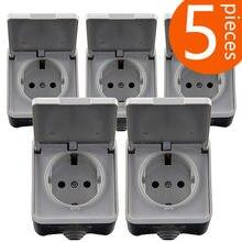 5 peças padrão europeu ip44 nível à prova dwaterproof água e brilhante ao ar livre tomada de parede cobertura 16a 250 v