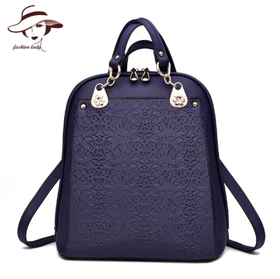 2017 Fashion Women's PU Leather Backpacks Girl School Bag Solid Color Travel Bags Bolsas Casual Style Women Bag Student Backpack