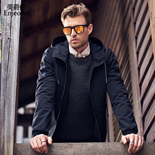 Enjeolon brand 2018 new casual hooded jackets coat men solid Mens plus size S 3XL coats clothing stand collar Men clothes JK0418