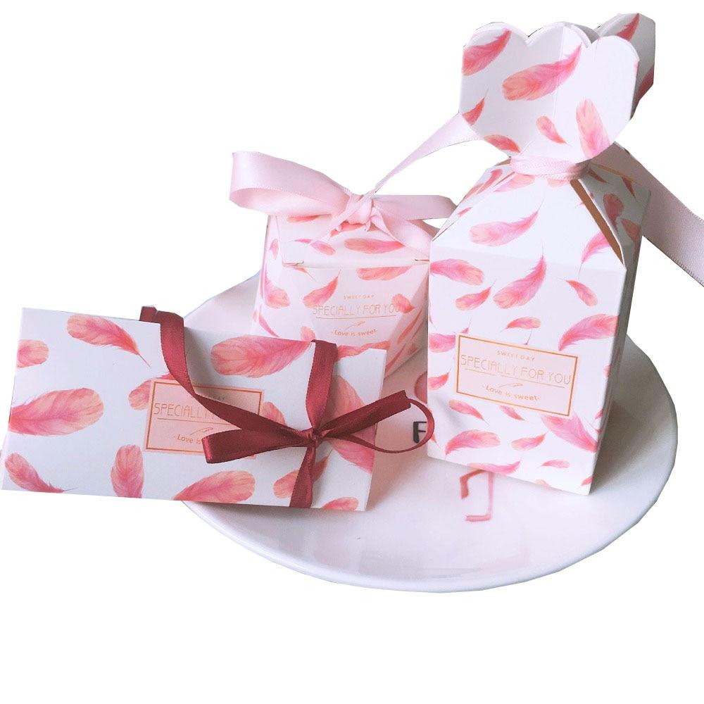 50Pcs Green Flamingo Triangular Pyramid Candy Boxes Wedding Favors ...