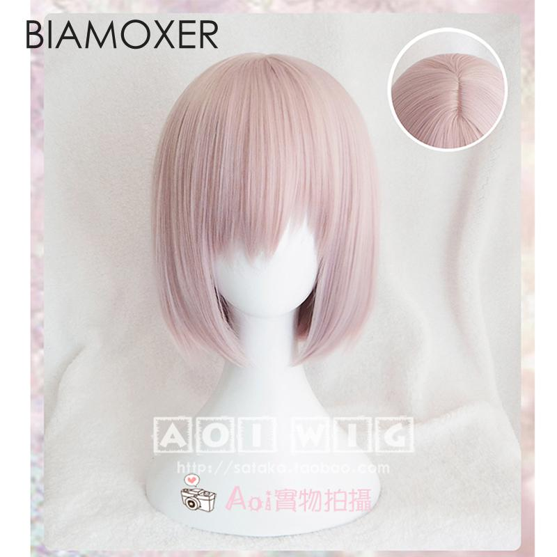 Biamoxer New Anime/Game Fate/Grand Order Mash Kyrielight Cosplay Wigs Pink Short Hair Wig Cosplay Hairpiece + free Wig Cap
