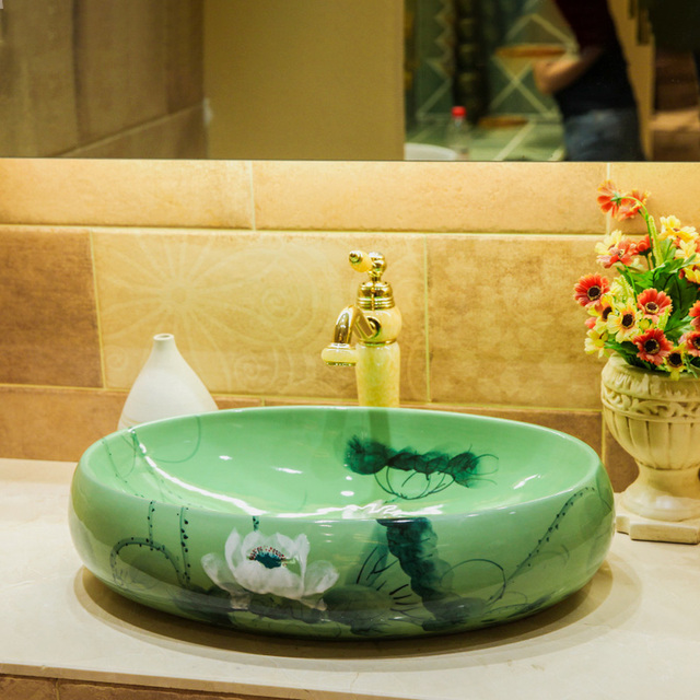 Chinese Style Bathroom Ceramic Wash Basin Above Counter Basin Hand