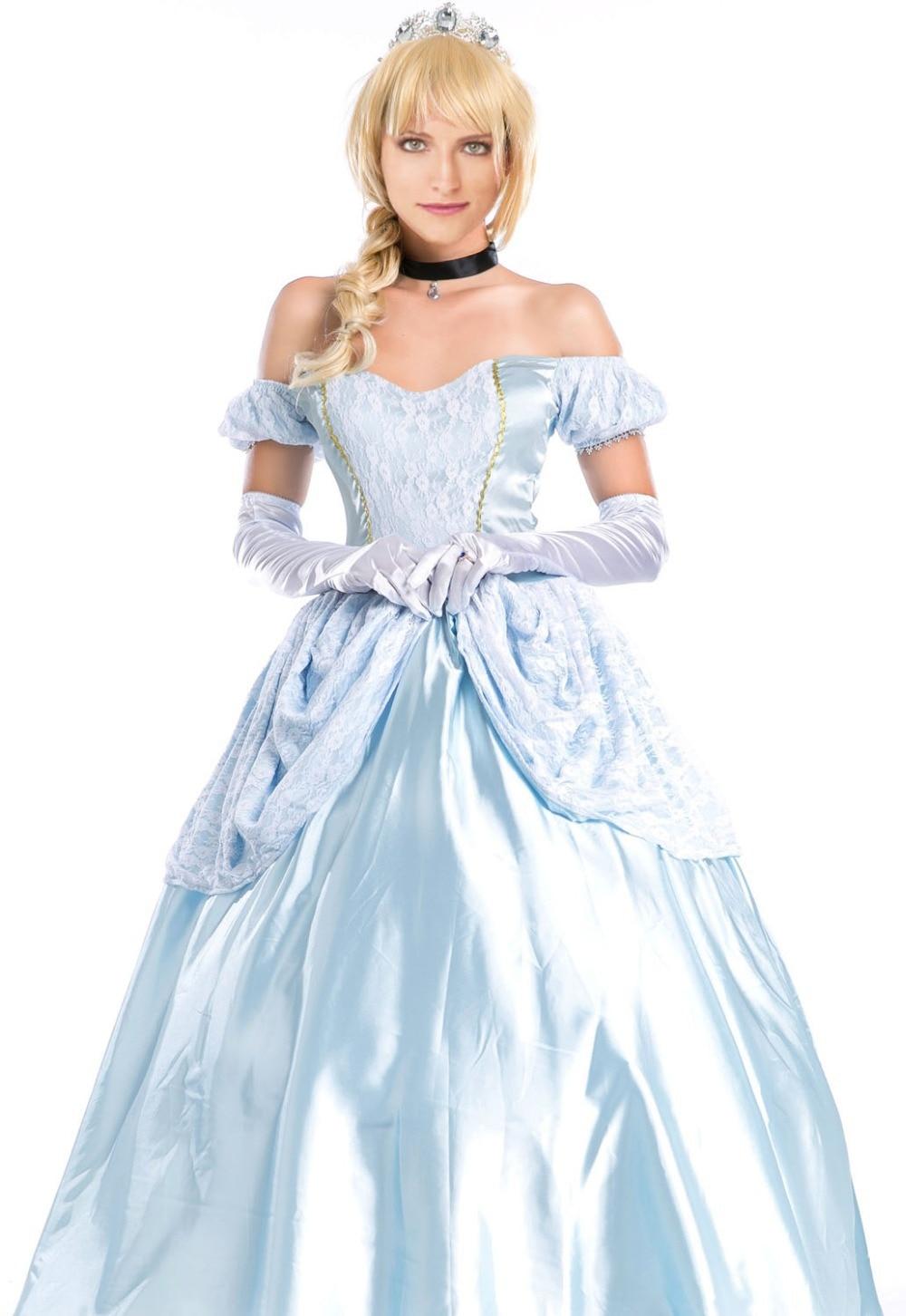 Adult Princess Cinderella Costume Fairy Tale Halloween Fancy Dress ...