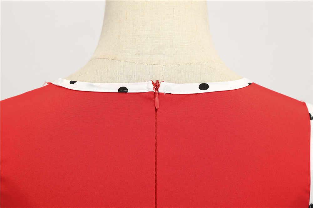 แฟชั่น Dot ฤดูร้อน 2019 V - Neck Patchwork 50 s 60 s Vintage ผู้หญิง Rockabilly ชุดเข่าความยาว Swing Pinup robe