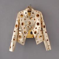 Spring Autumn Metal wind Hole gold Short Motorcycle jacket and coat 2017 Women Ladies short leather jacket and coat